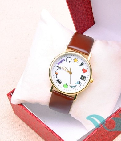 Lovely Leather Strap Cute Dial Plate Girls Watch