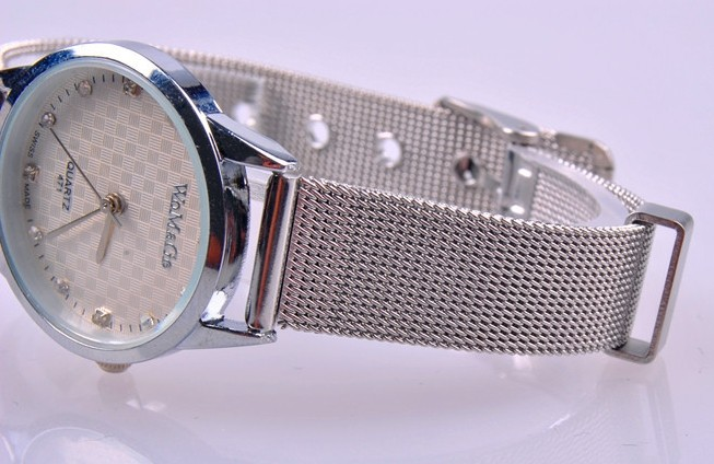 Big Dial Knitted Silver Metal Band Watches UK