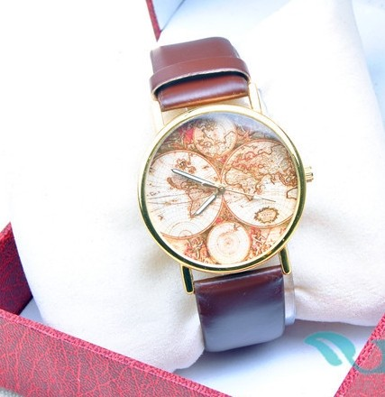 Large Face with Small Four World Map Dial Watch