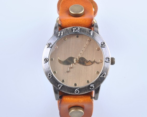 Retro Style Thick Leather Strap Funky Watch