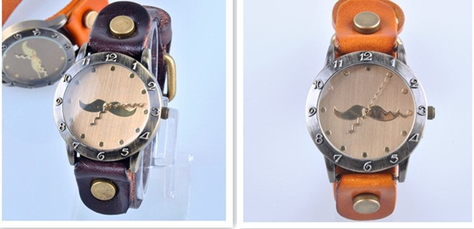 Retro Style Thick Leather Strap Funky Watch - Click Image to Close