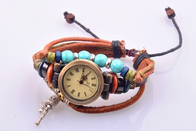 Bangle Design Suede Leather Strap Watch on Sale