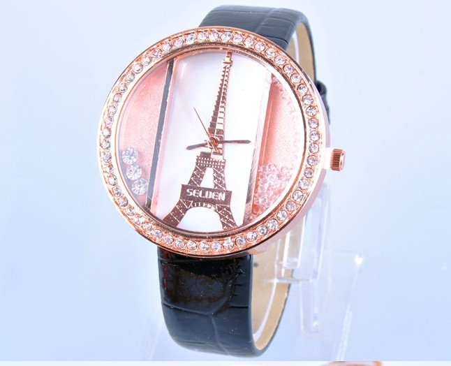 Fashion Eiffel Tower with Shiny Crystal Face Watch