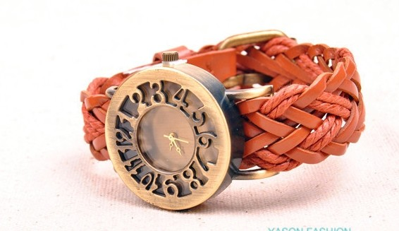 Fashion Number Case Knitted Strap Watch