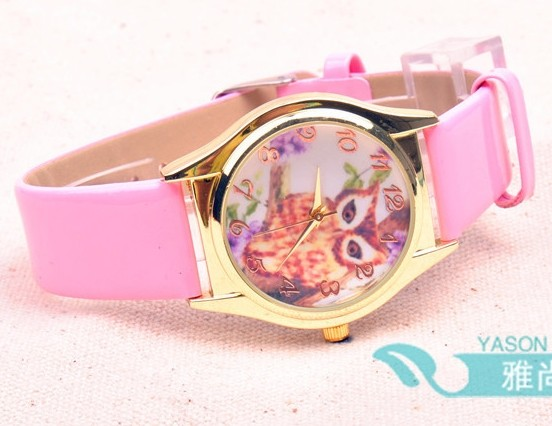 Cute Owl Picture Face Rose Golden Watch on Sale
