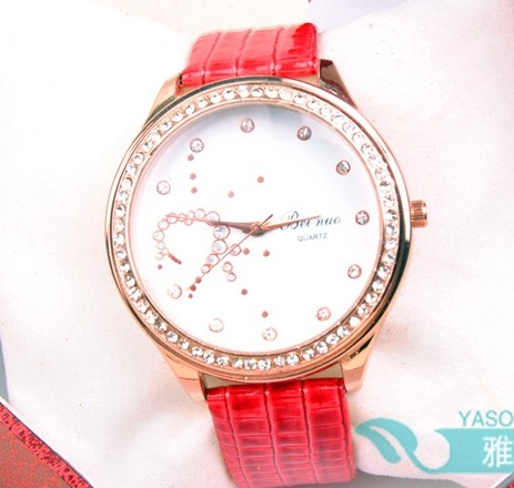 White Shiny Face Foam Leather Strap Watch