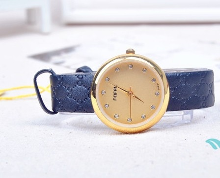 SEO_COMMON_KEYWORDS Concise Style Embossed Leather Band Wrist Watch
