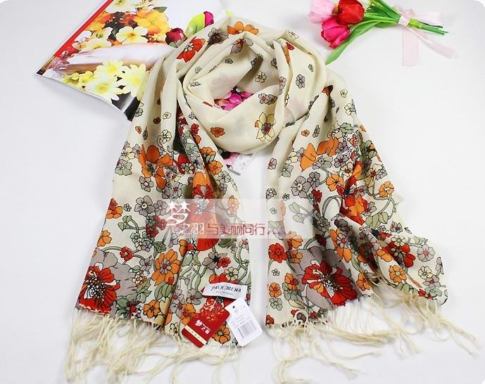 USA 100% wool shawl Rectangle high quality scarf flowers print