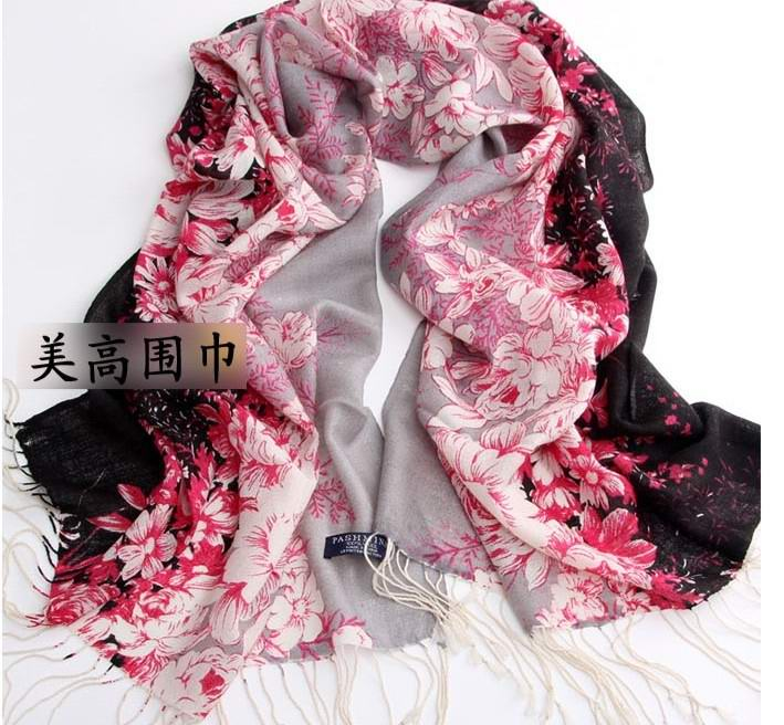 SEO_COMMON_KEYWORDS Flowers Designs Wool scarf for lady 2013
