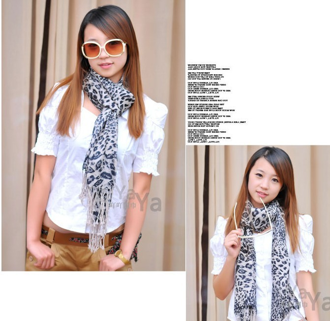 Newest style leapard print 100% wool scarf/shawl/Stole wholesale