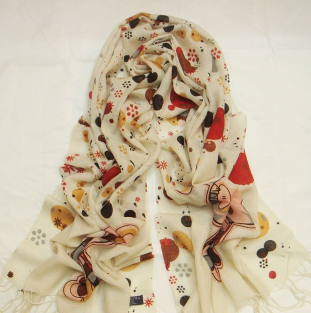 100% Wool scarf/shawl/stole with cute design Wholesale