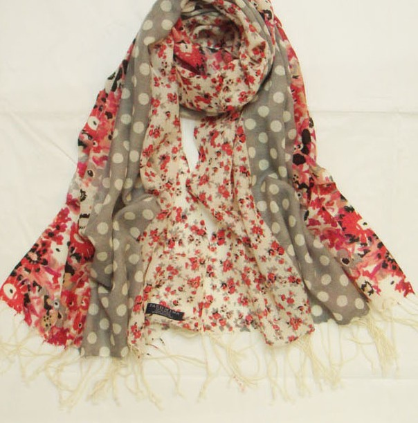 Dot and Flowers design 100% wool scarf wholesale