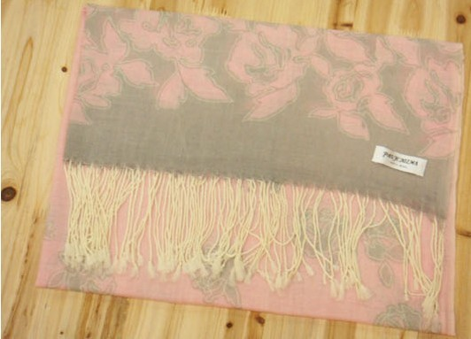 Trendy 100% Wool pink Scarf for lady