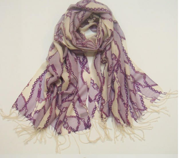 Luxurious 100% Wool scarf/shawl/stole with Chain design Wholesal