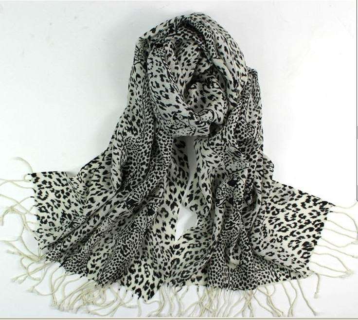 SEO_COMMON_KEYWORDS White and Black Leopard Print Design 100% Wool/ Cashmere Scarf/W