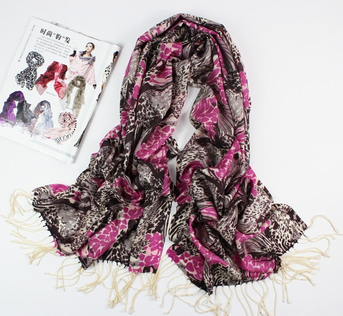 Purple Wool Scarf with Animal Print For women