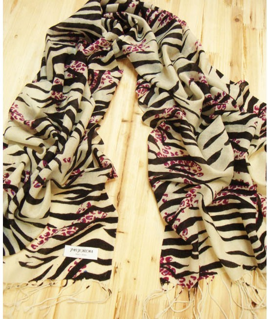 SEO_COMMON_KEYWORDS Zebra-stripe Print Women's Winter Scarf 100% Pashmina Wool