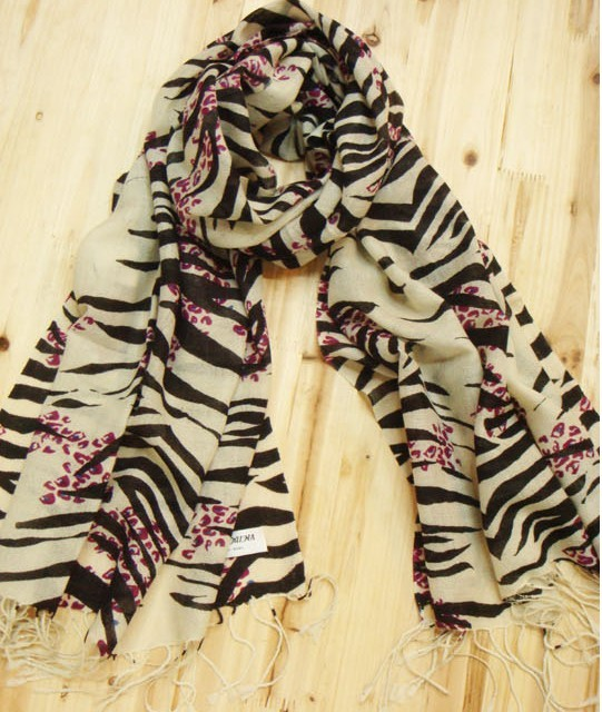 Zebra-stripe Print Women's Winter Scarf 100% Pashmina Wool