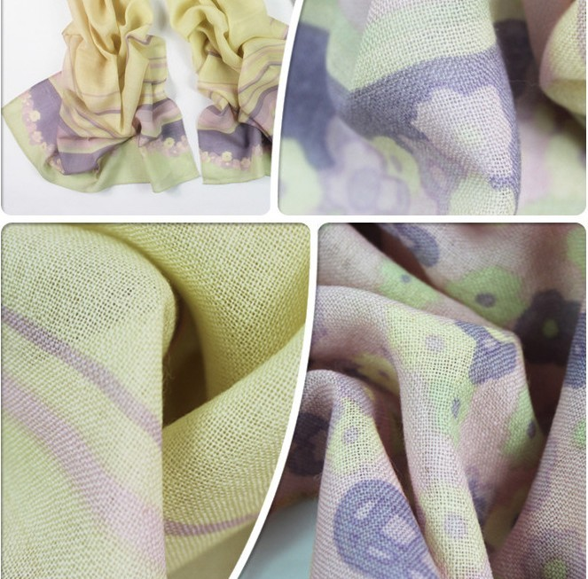 Cream And Purple 100%Wool Scarf Wholesale Paris