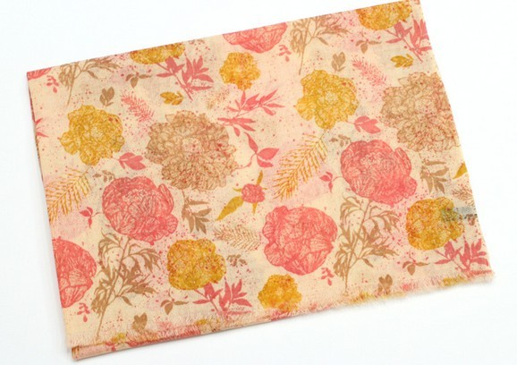 100 WOOL095 Floral Patterns Wool Scarf - Click Image to Close