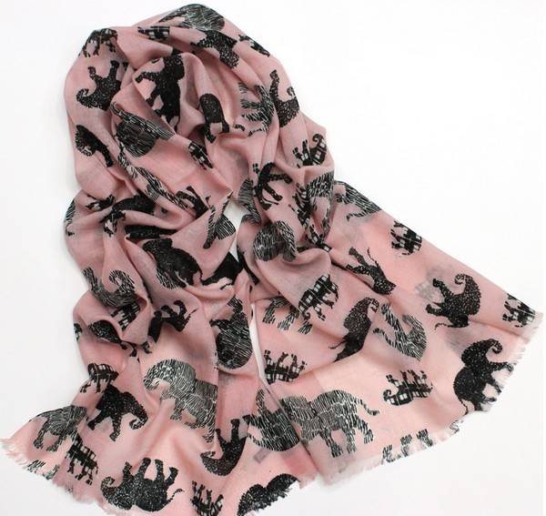 100 WOOL096 Elephant Pattern Scarf 100% Wool - Click Image to Close