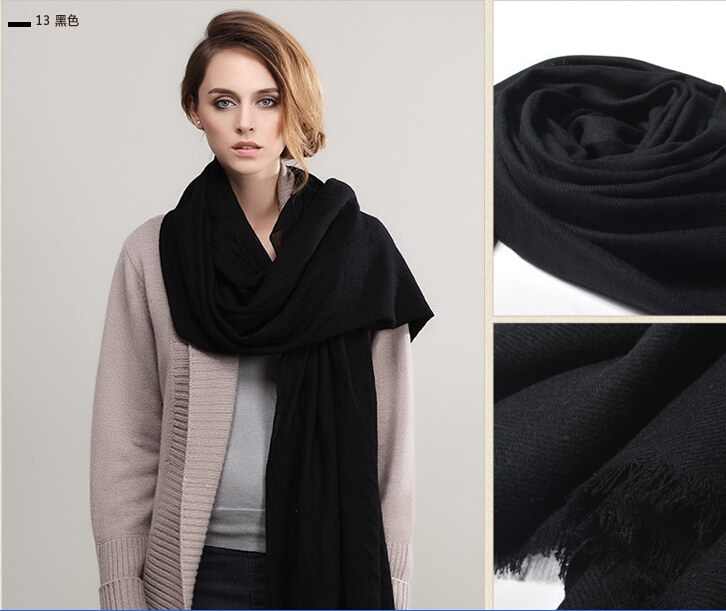 013 Black Scarf Scarf 100% Wool Solid Colors