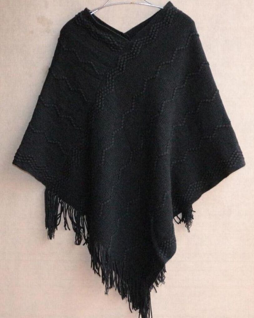 Black Women Ponchos For Winters
