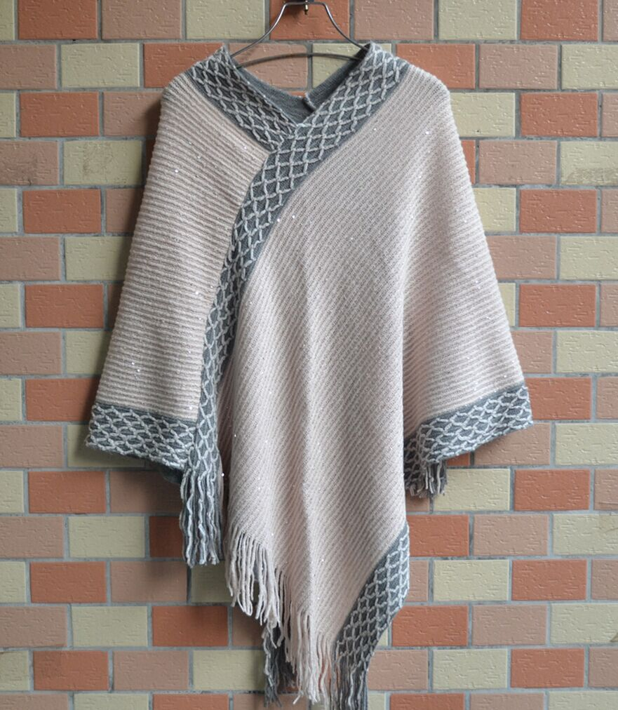 Women Ponchos With Glitter Design