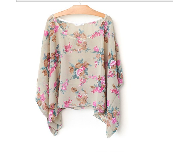 Flower Pattern Women Ponchos for Spring